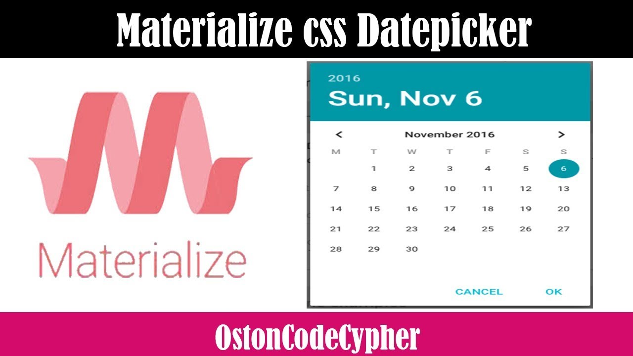 How to create a Date Picker using Materialize css.