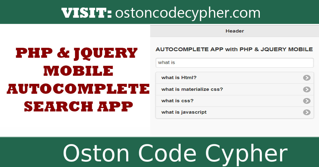 Quick Autocomplete App With PHP and JQUERY MOBILE