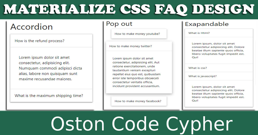 How to create a FAQ section using Materialize CSS Framework