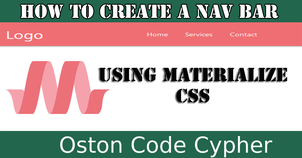 How to create a Nav Bar Using Materialize CSS